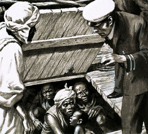 Outposts of the Empire: A Trade in Human Misery. Crammed onto one tiny hold the British officers found 48 men, 53 women and 55 children, all of them so doubled-up that they could hardly move. Original artwork from Look and Learn no. 585 (31 March 1973).