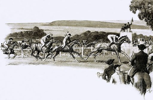 So That's Why… He gave his name to a great racer. Britain's most famous flat race, the Derby, began as a private affair between friends; it's name was decided on the toss of a coin. Original artwork from Look and Learn no. 336 (22 June 1968).