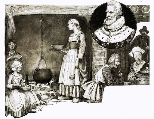 So That's Why… Great dishes have French names. King Henry IV of France (inset) had no great a love of food but he was concerned that his subjects should have substantial meals. Original artwork from Look and Learn no. 335 (15 June 1968).