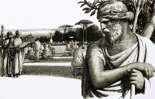 So That's Why… A school is sometimes called an academy. Attracted by the wisdom of the great philosopher, Plato, young scholars flooded to the beautiful park in Athens where he taught. Original artwork from Look and Learn no. 236 (23 July 1966).