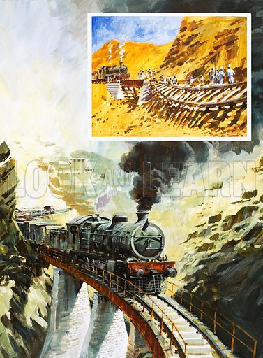 Railway Through the Khyber: The Saint Was – a Sheep. The Khyber Railway provided one of the most thrilling rides in the world; (inset) raging storms bring track-laying to a halt. Original artwork from Look and Learn no. 965 (6 September 1980).