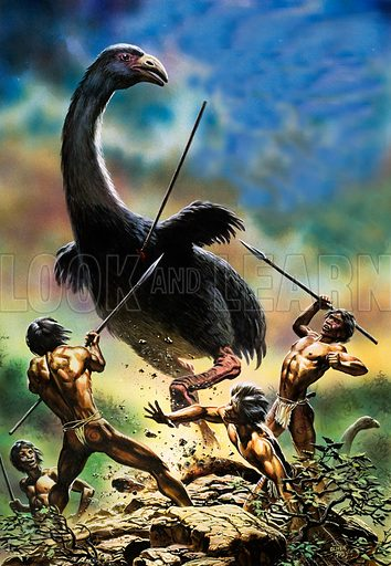 Unidentified prehistoric creature attacked by cavemen.