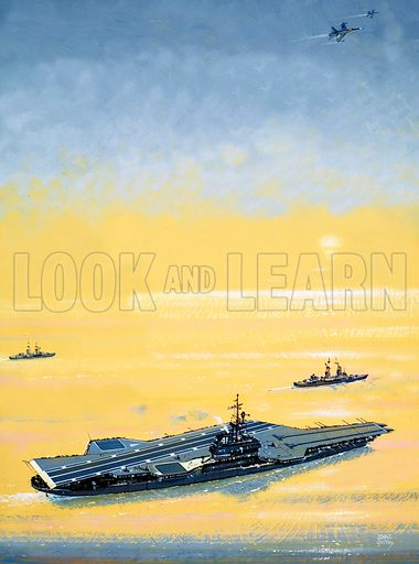 The Flying Sailors: Airborne On a Jet of Steam. A carrier of the US Midway Class as used on World War II. Original artwork from Look and Learn no. 1025 (31 October 1981).