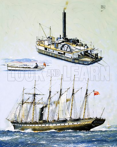 Ships That Survived: A Great Welcome for the Great Britain. The SS Great Britain (bottom), Isambard Kingdom Brunel's finest ship, with The Bertha an 1844 dredger (top) and 1898 motorboat (middle). Original artwork from Look and Learn no. 987 (7 February 1981).