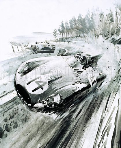 Tales of the Track: The Tyre King of the Circuits. Forced off the road, a D-type Jaguar driven by Duncan Hamilton and Tony Rolt at the 1954 Le Mans. Original artwork from Look and Learn no. 568 (2 December 1972).