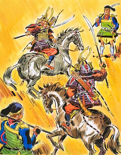 The Story of the Soldier: Warrior Knights of the East. Samurai warriors. Original artwork from Ranger (9 April 1966).