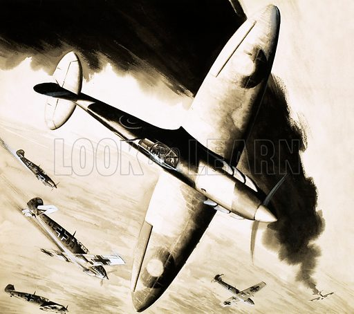Unidentified Spitfire in dogfight with German fighters. Original artwork.