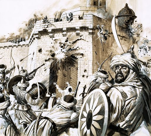 Unidentified siege in the Middle East. Original artwork.