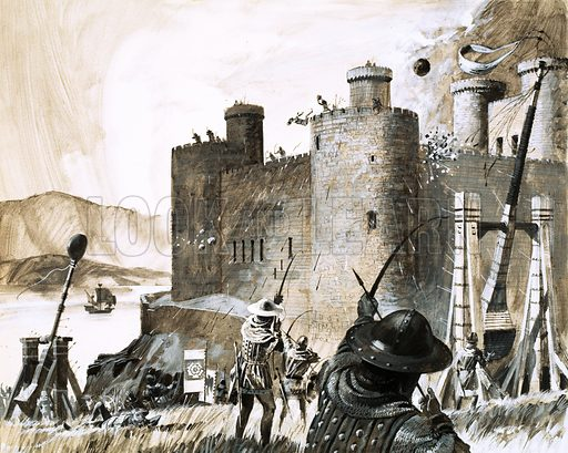 Unidentified siege of a castle using a trebuchet. Original artwork.