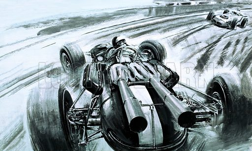 Tales of the Track: The 500 Mile Marathon. No Briton had won the Indianapolis 500 until Jim Clark in his Lotus Ford, here seen spinning his car at high speed. Original artwork from Look and Learn no. 565 (11 November 1972).