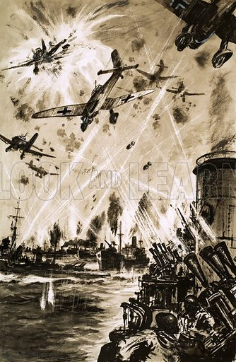 Last Days of the Lightships. A British convoy in World War II under attack from German Stukas. Original artwork from Ranger (5 February 1966).