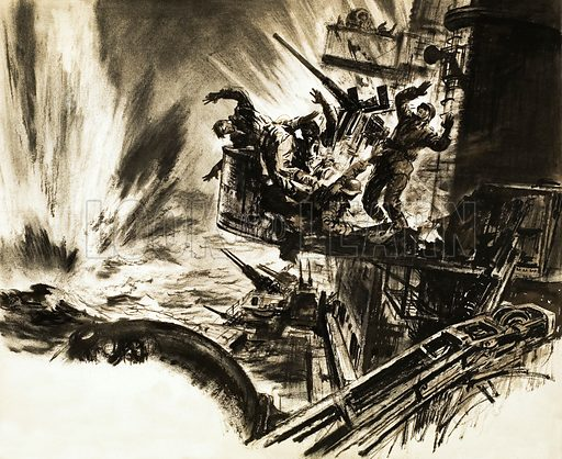 Sink the Scharnhorst! The Trap Begins to Close. The British Royal Navy attack the pride of the German fleet. Original artwork from Ranger (11/6/66).