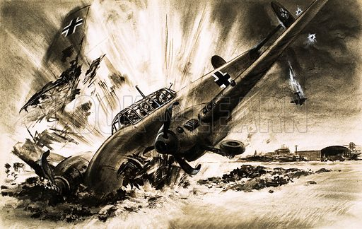 """Hamburg – Target for Destruction! """"The Messerschmitt hung for a second on bellowing engines. Then it hit the ground with a terrific explosion."""" Original artwork from Ranger (21 May 1966)."""