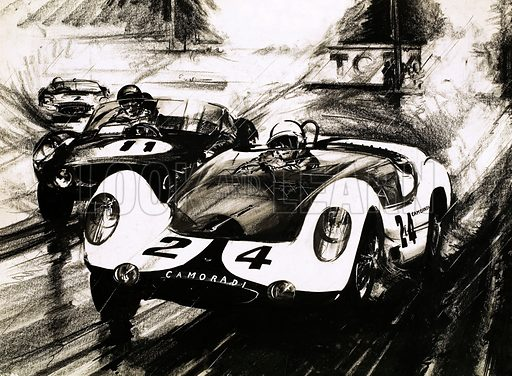 Cars and All About Them: Thrills in a Storm. Excitement at the le Mans 24-hour race as the leading car, a Maserati, skids into a sandbank. Original artwork from Ranger (26 March 1966).
