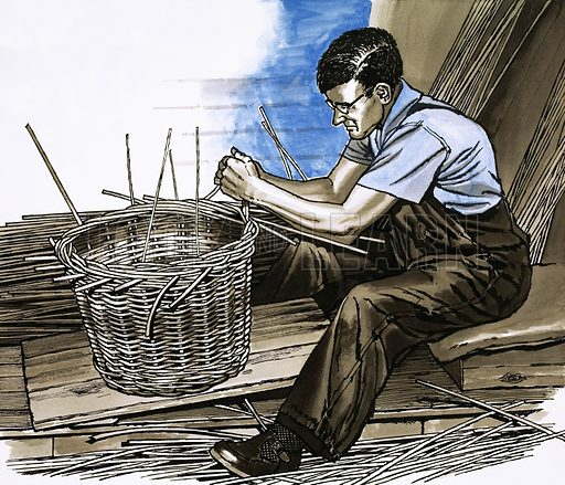 The Cane Craftsmen. A basket-weaver at work. Original artwork from Look and Learn Book 1982.