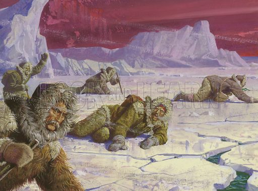 Into the Unknown: Pearry's Icy Trail to Triumph. Robert Peary's expedition to the North Pole encountered many dangers. Original artwork from Look and Learn no. 871 (23 September 1978).