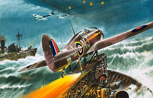 Into the Blue: Merchant Navy Fighter. Original artwork from Look and Learn no. 309 (16 December 1967).