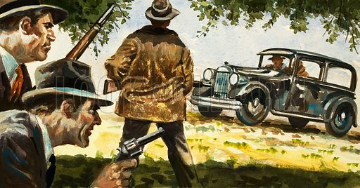 The Texas Ranger: Scourge of the Bandits. Texas Rangers ambush a car driven by Bonnie and Clyde. Original artwork from Look and Learn no. 804 (11 June 1977).