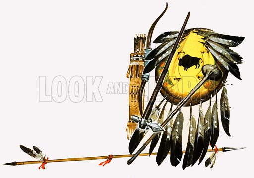 Unidentified Indian weapons, including spear, arrows, clubs and a feathered shield. Original artwork.