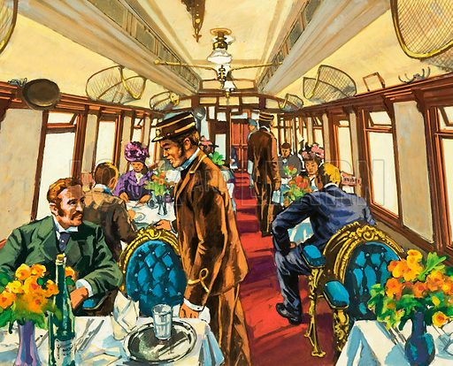 Travelling in comfort in the Pullman coach of a late Victorian British passenger train. Original artwork from Look and Learn no. 971 (18 October 1980).
