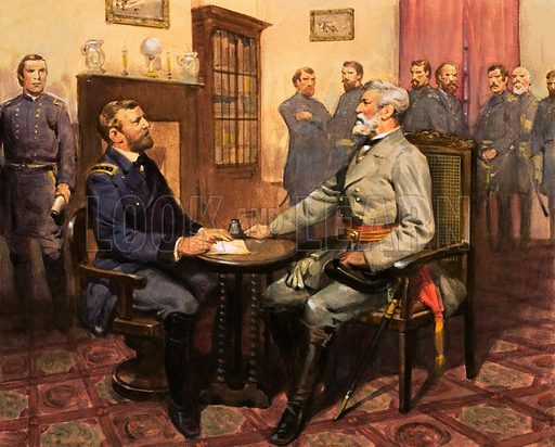Generals commanding the Union and Confederate armies in the American Civil War: Ulysses S Grant meeting Robert E Lee.