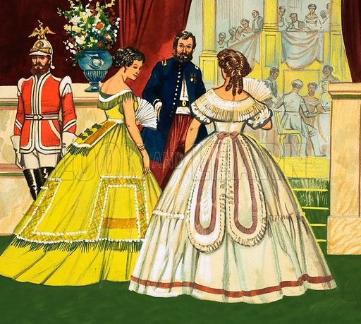 Unidentified women in formal dresses attending a function (19th century). Original artwork.