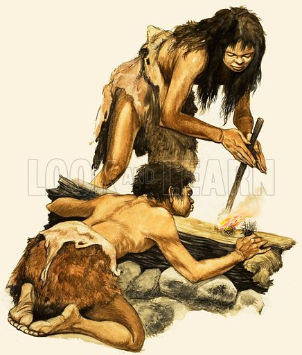 Stone Age mother and child making a fire. Original artwork from Treasure no. 1 (19 January 1963).