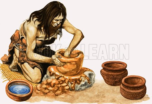 People of the New Stone Age. People of the New Stone Age learned to make pots from clay. Original artwork from Treasure no. 2 (26 January 1963).