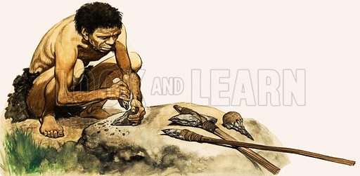 The Stone Age People. A Stone Age man making a weapon. Original artwork from Treasure no. 1 (19 January 1963).