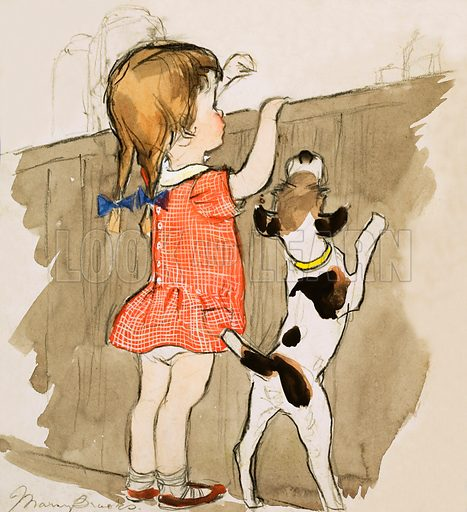 Unidentified young girl and dog. Original artwork (dated 3/2/68).