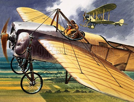 Unidentified early aircraft with biplane in background. Original artwork (dated 1/1/66).
