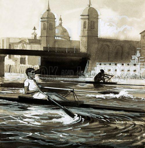 Unidentified rowers. Original artwork.