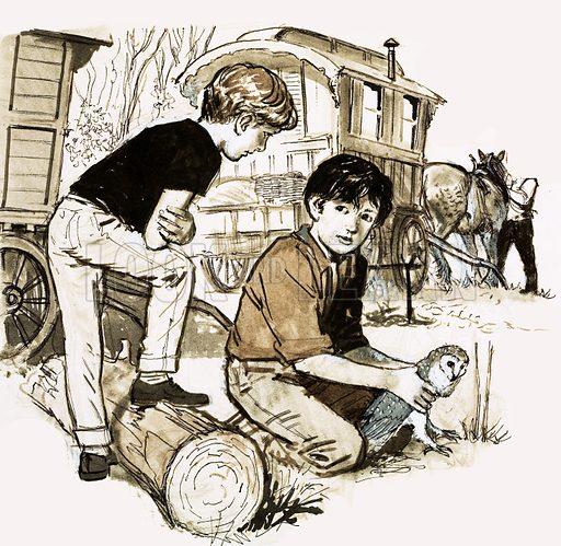 Boys with owl. Original artwork.