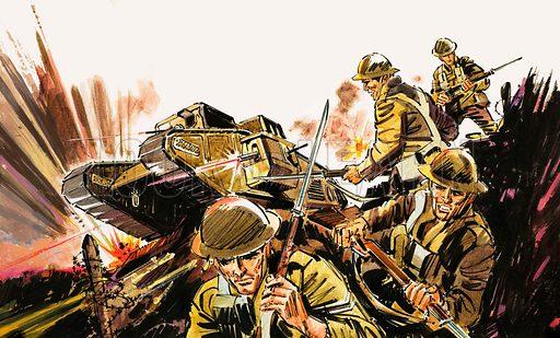 Soldiers and tank. Original artwork.