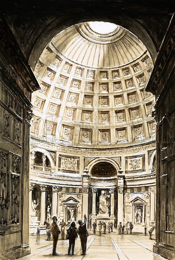 The Church's Year: All Hallows' Tide. The Pantheon of Agrippa is still one of the most famous shrines in Christendom and is remarkable for its vast dome. Original artwork from Look and Learn no. 355 (2 November 1968).