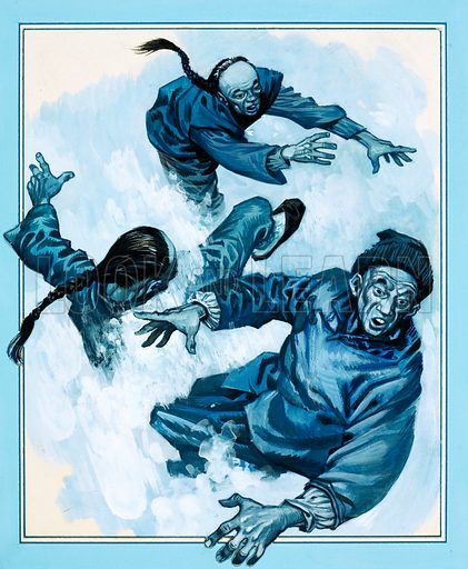 Rails Across the West: Through the Killer Mountains. Avalanches kept roaring down on the unfortunate Chinese workmen. Original artwork from Look and Learn no. 775 (20 November 1976).
