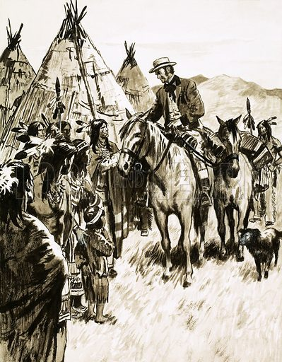 They Gave Millions Away: Merchant Who Loved the Poor. The millionaire merchant George Peabody had the courage to ride among the Indians. Original artwork from Look and Learn no. 352 (12 October 1968).