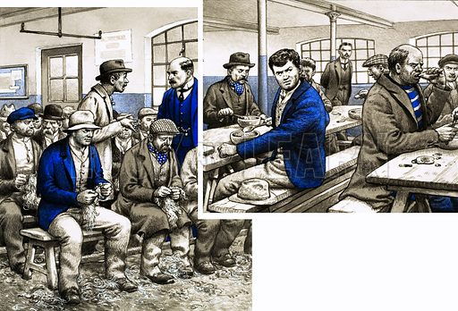 Food, Glorious Food: Salvations for the Starving. In workhouses, unemployed men earned their meal and a bed by picking oakum. Original artwork from Look and Learn no. 713 (13 September 1975).