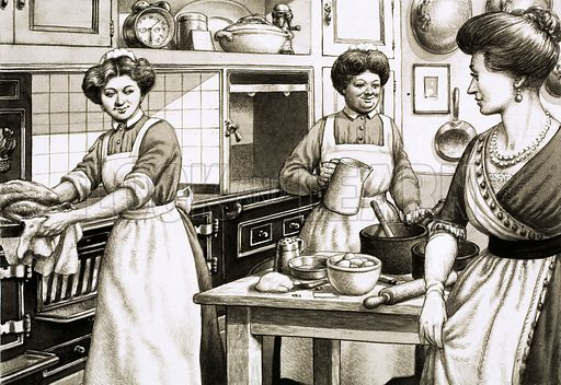Food, Glorious Food: Salvations for the Starving. Middle classes in Edwardian times ate well. Cooking was done on coal-fired ranges. Original artwork from Look and Learn no. 713 (13 September 1975).