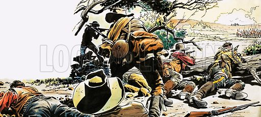 Blood on the Prairie, based on the novel by Paul Evan Fairman. Scouts and soldiers of the US calvalry spy an Indian war party. Original artwork from Ranger (29 January 1966).