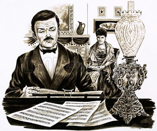 Words & Music: The English Master of Melody. Edward Elgar at work in his living room. Original artwork from Look and Learn no. 423 (21 February 1970).