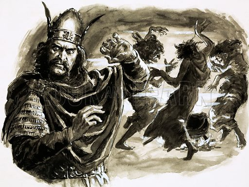 Mighty Monarchs: Macbeth – Not Guilty of Murder. In Shakespeare's play, Macbeth meets three witches who tell him he is to become the King of Scotland. Original artwork from Look and Learn no. 529 (4 March 1972).