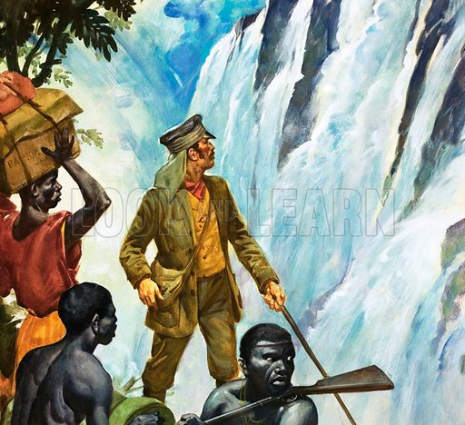 Famous Firsts: At Africa's Heart. David Livingstone discovers the Victoria Falls. Original cover art from Look and Learn no. 345 (24 August 1968).