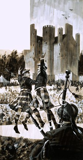 The Highland Games of Braemar. Scottish dancing and bagpipe player with Braemar Castle in the background. Original artwork from Look and Learn no. 398 (30 August 1969).