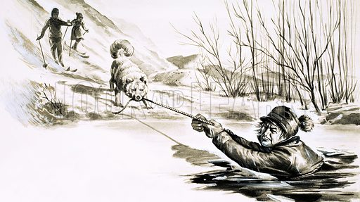 A Bowl of Broth, illustration based on the story by Alan C. Jenkins. A dog rescues a man from an icy pool. Original artwork from Look and Learn no. 375 (22 March 1969).