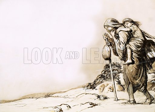 Unidentified mother carrying child in sandstorm. Original artwork (dated 9 Aug).