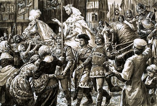 Mighty Monarchs: The She-Wolf of France. Sick of Edward's weak and foolish rule, the English people welcomed the rebel army that Queen Isabella and Roger Mortimer led from France. Original artwork from Look and Learn no. 535 (15 April 1972).