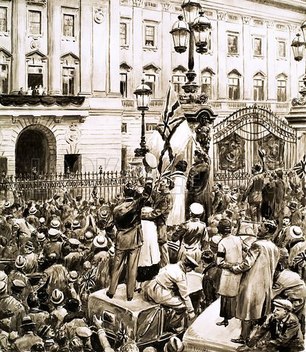 Britain's Prime Ministers: The Fiery Welshman. Crowds outside Buckingham Palace cheer King George V on Armistice Day. Original artwork from Look and Learn no. 197 (23 October 1965).