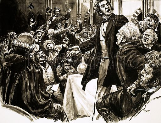 British scientist Thomas Huxley defending Charles Darwin's theory of evolution at a lecture, 19th Century. Original artwork from Look and Learn no. 639 (13 April 1974).