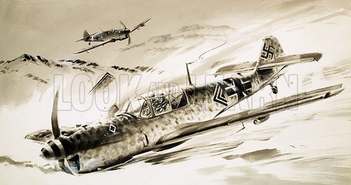 Unidentified German aircraft. Original artwork (dated 25 Dec.).